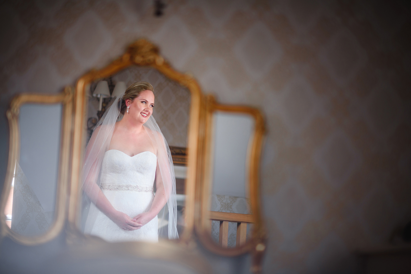 The bride got ready with her bridesmaids in the Bridal Boudoir