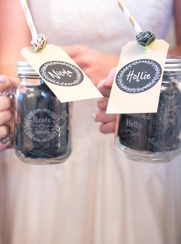 The bridesmaids were gifted personalised mugs as a thank you present