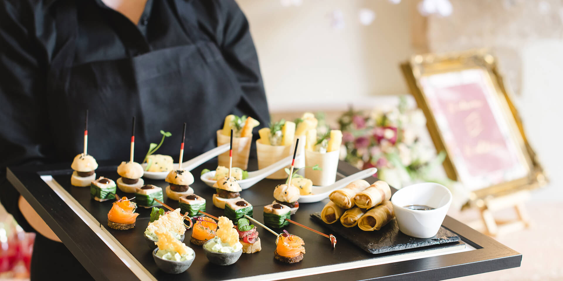 A delicious selection of canapes are perfect for serving at your wedding drinks reception at Bassmead Manor Barns