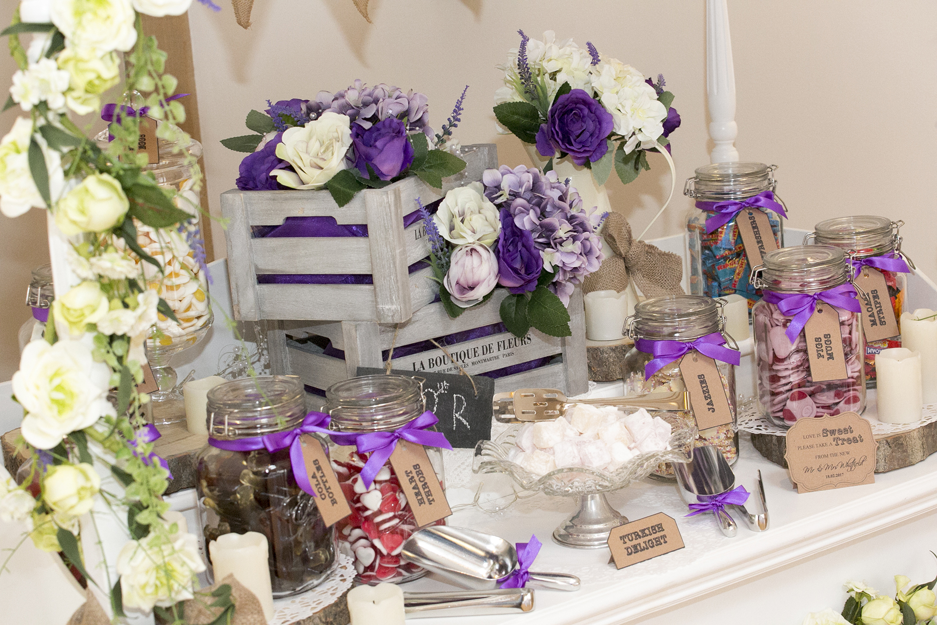 Candy station dessert table at Bassmead Manor Barns