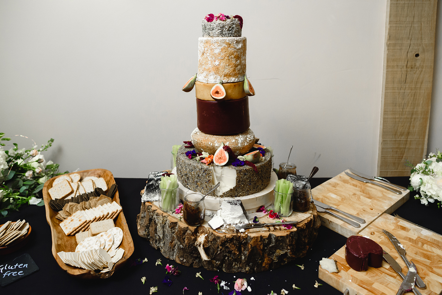 The couple also had a cheese wedding cake which guests enjoyed with biscuits crackers and fruit