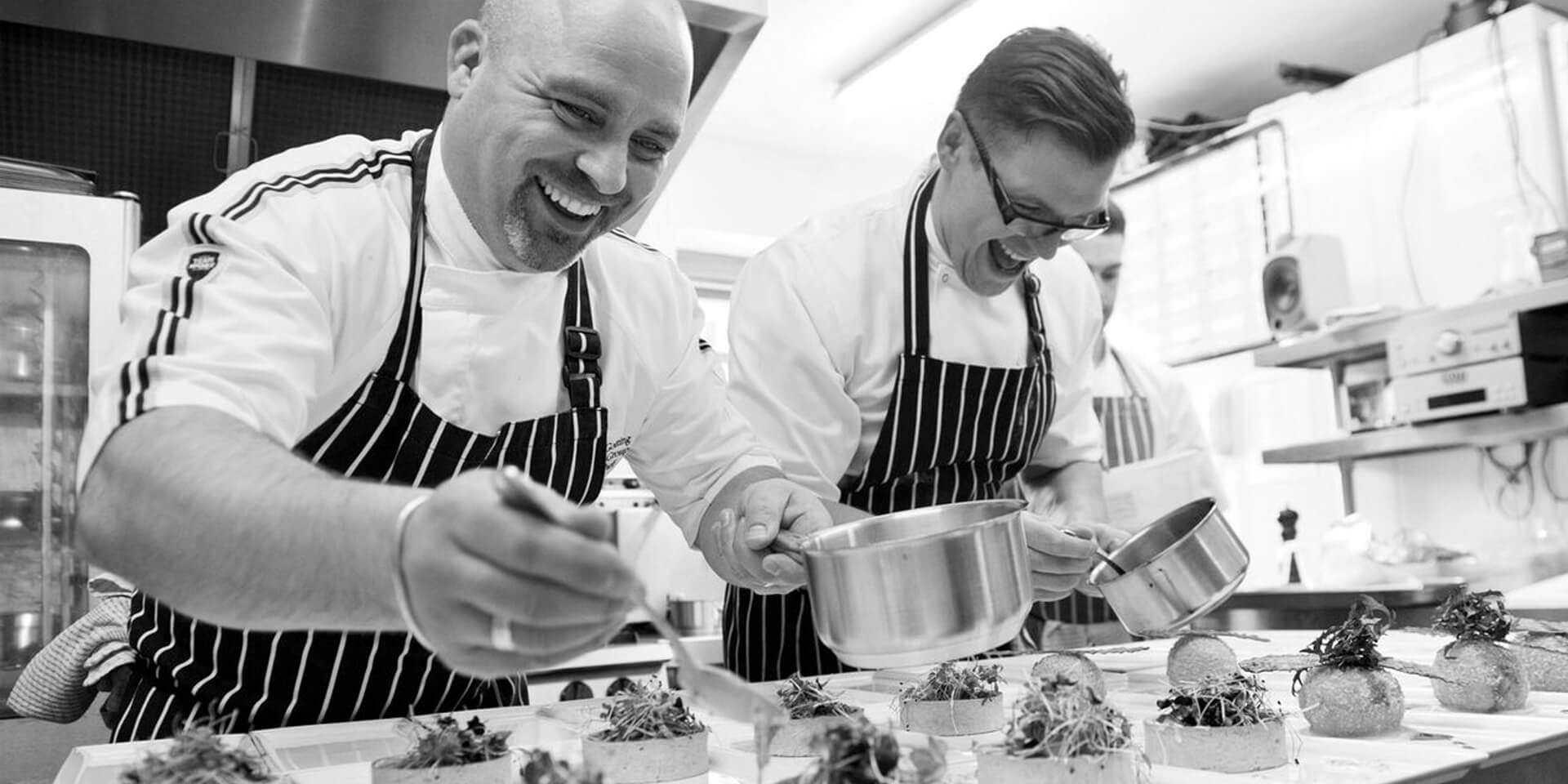 The talented chefs at Bassmead Manor Barns make the finishing touches to a wedding breakfast