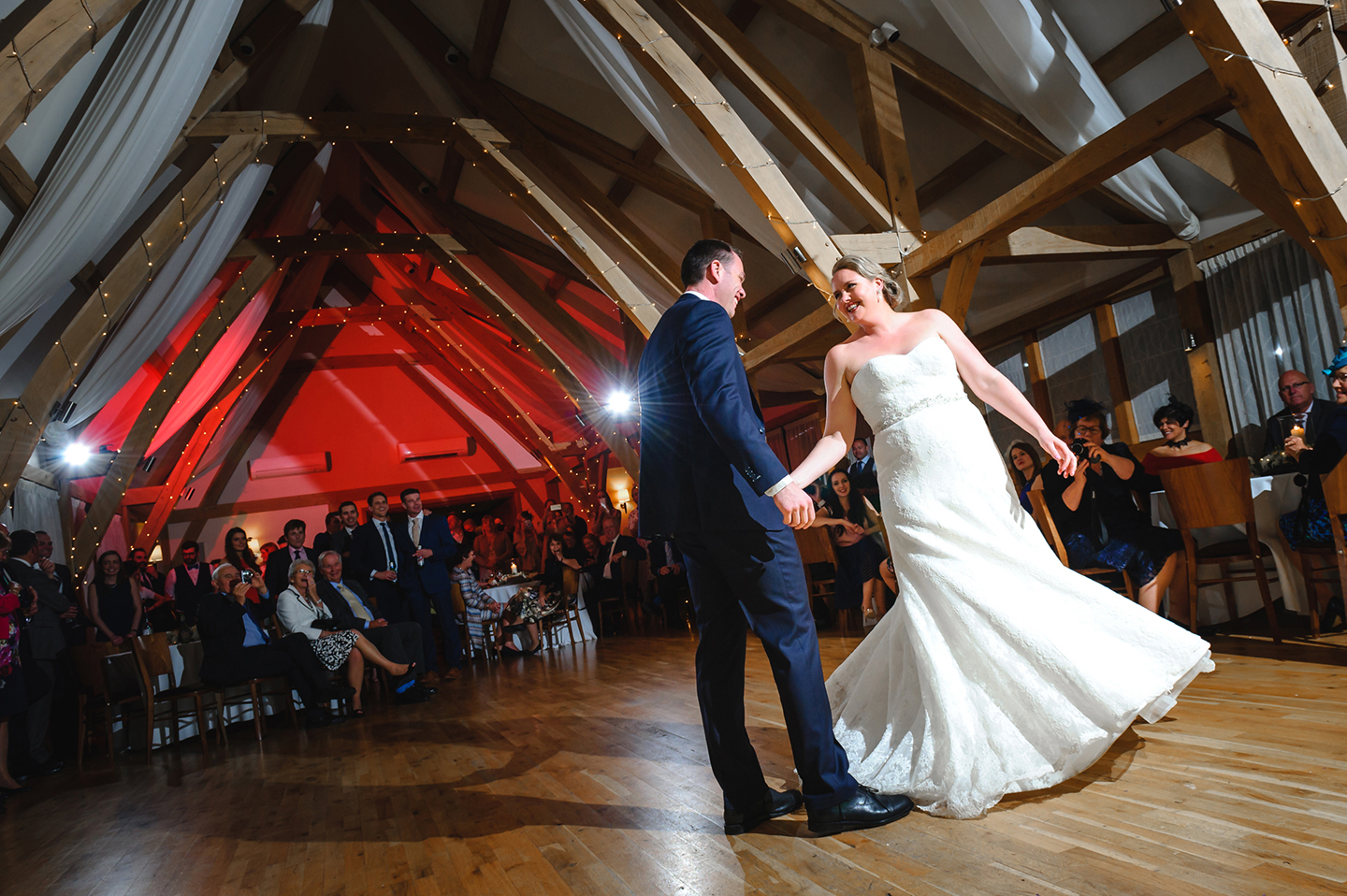 The happy couple enjoy their first dance on the dncefloor as husband and wife