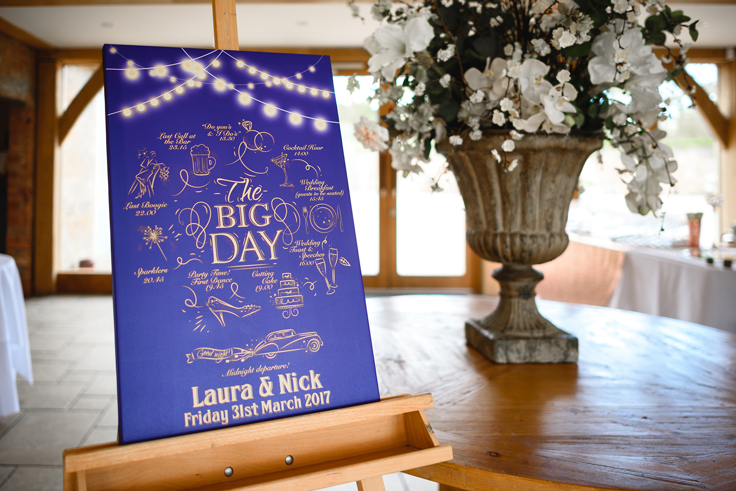 The order of the day was displayed as an illustration on hug piece of navy card – wedding ideas