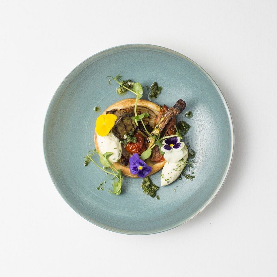 For your wedding breakfast enjoy a vegetarian main course of grilled vegetables and whipped goats cheese
