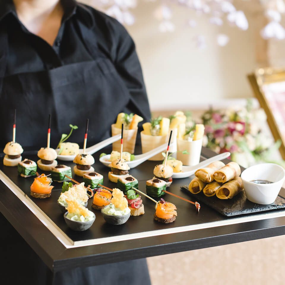 A delicious selection of wedding canapes created by the on-site caterers at Bassmead Manor Barns