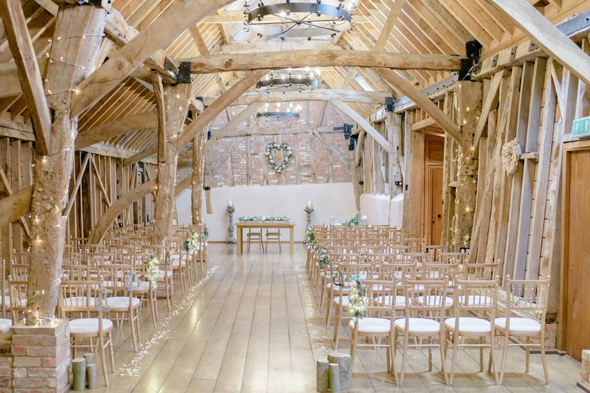 The stunning Rickety Barn looked beautiful for the couple's wedding ceremony