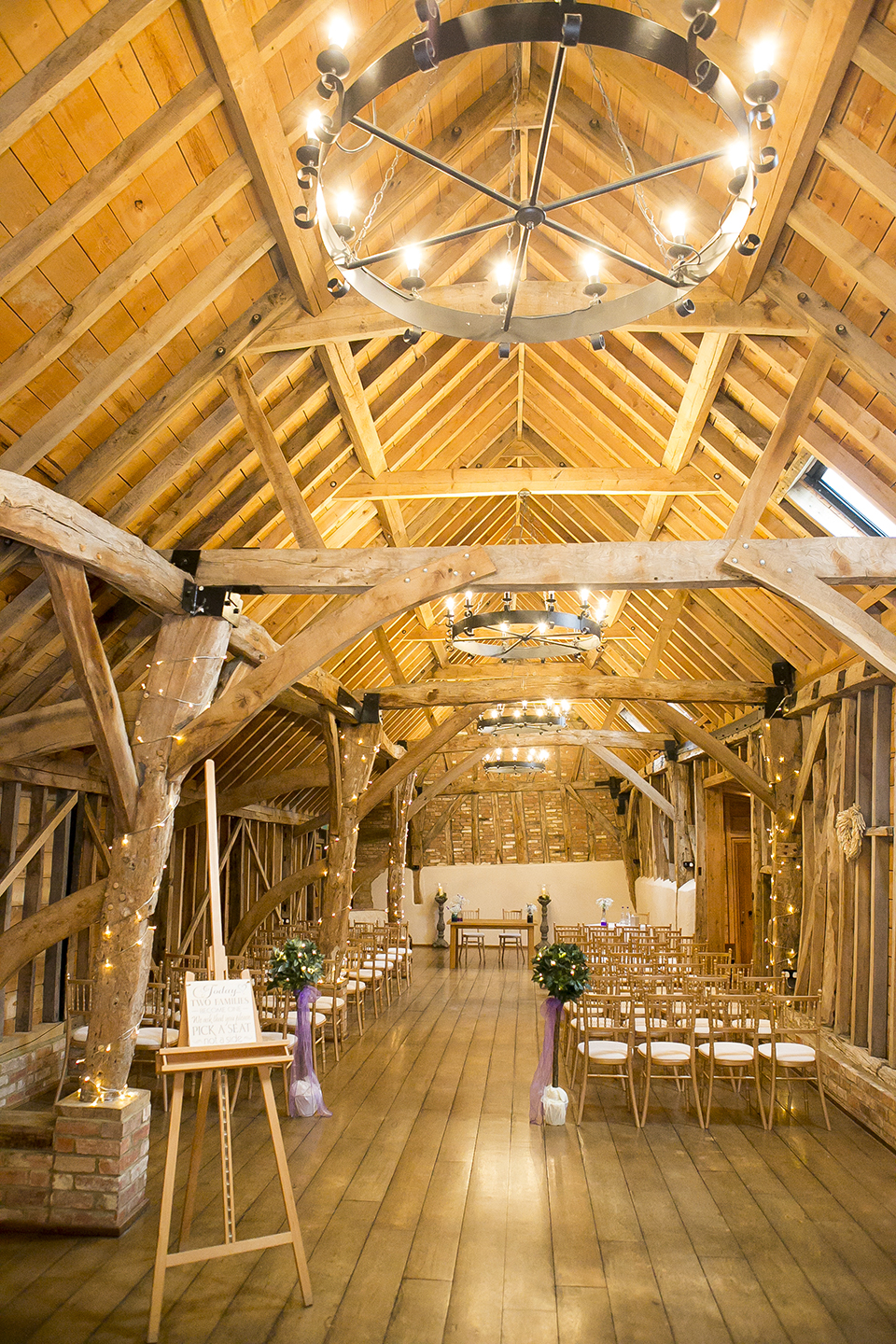 The Rickety Barn is set up for a rustic wedding ceremony