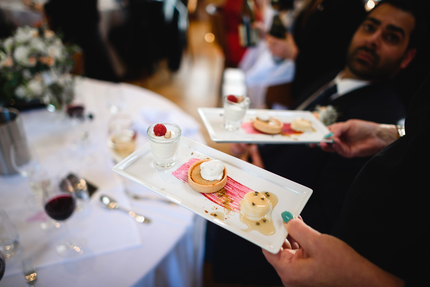 Saving the best until last guests enjoy a trio of desserts from the expert caterers Galloping Gourmet