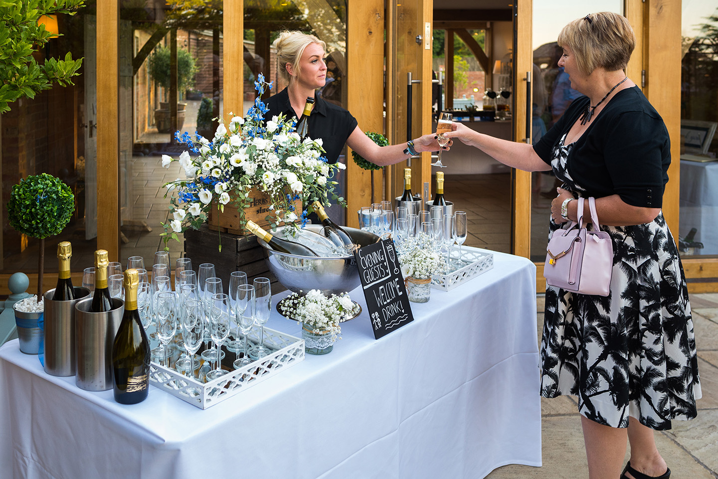Evening guests were also greeted with a friendly face and welcome drinks from our Galloping Gourmet team