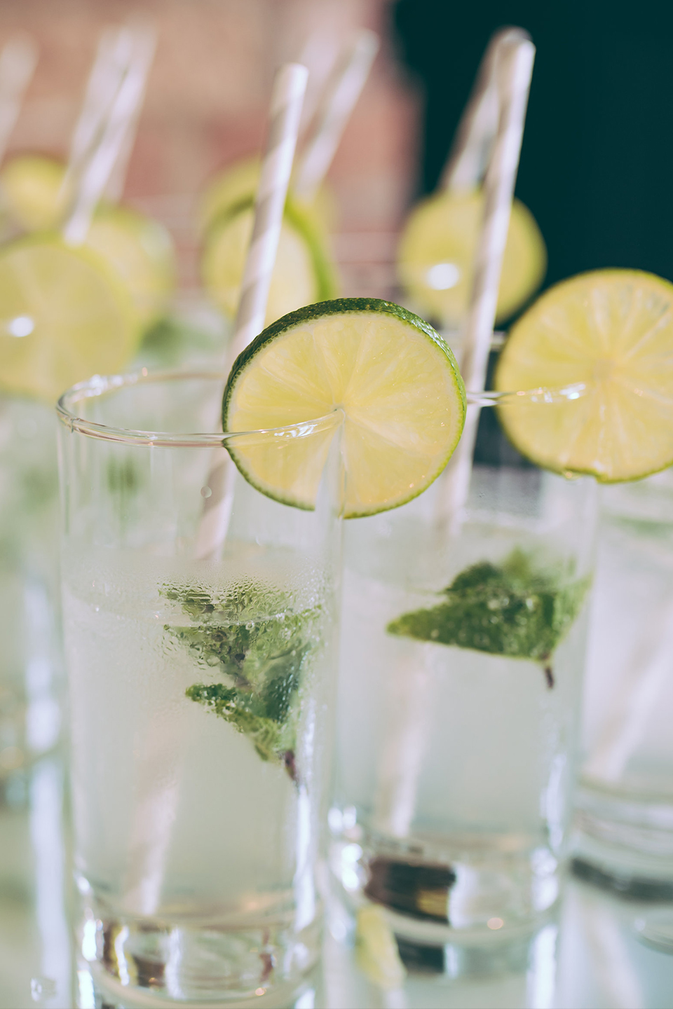 The couple served refreshing Mojitos for their summer drinks reception at Bassmead Manor Barns