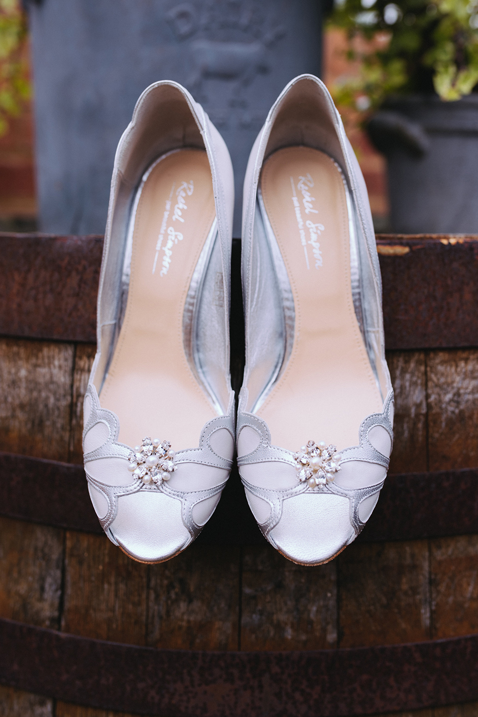 The bride wore silve Rachel Simpson wedding shoes for her wedding at Bassmead Manor Barns