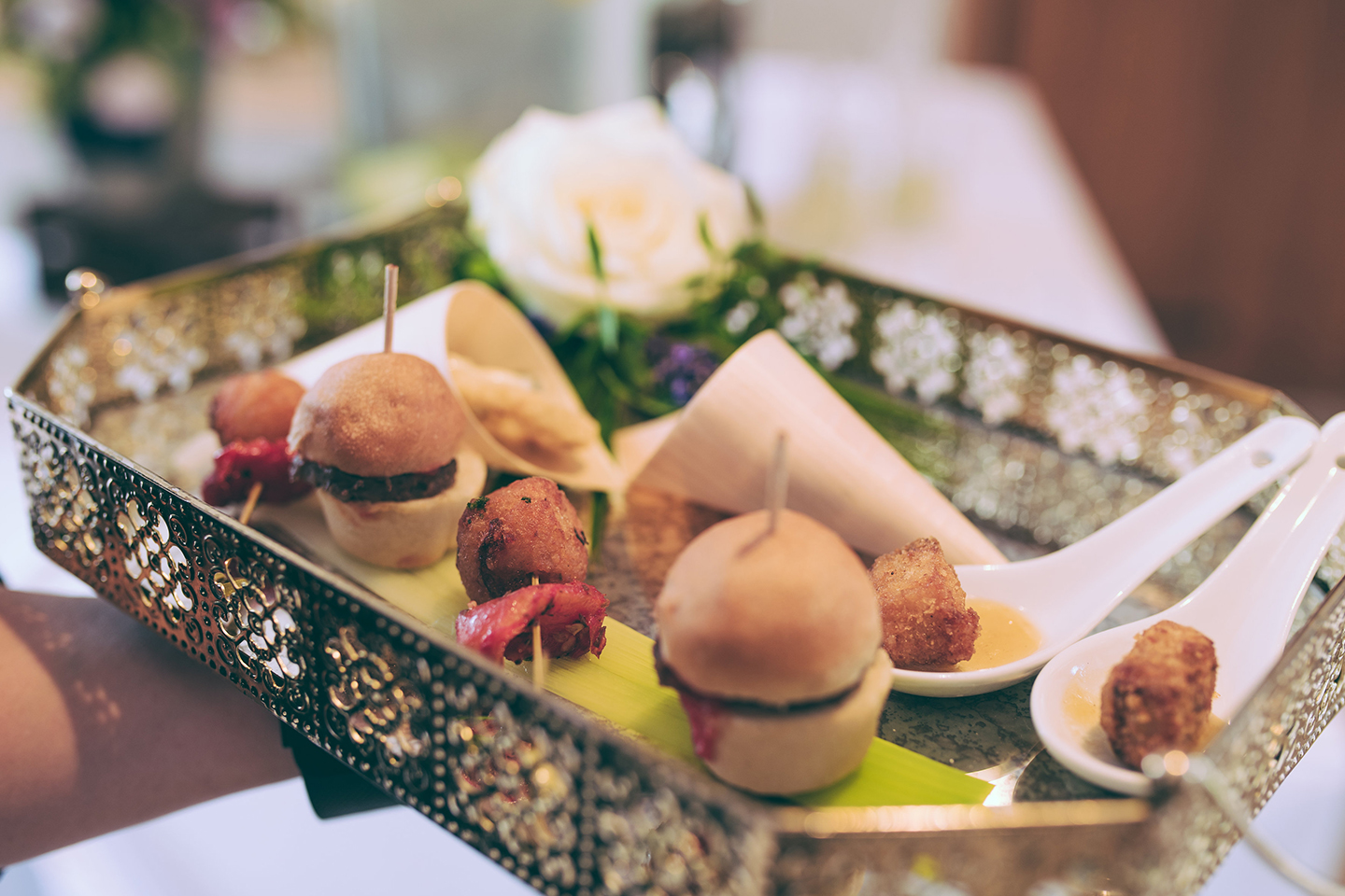 The couple served a delicious selection of wedding canapes during their drink's reception at Bassmead Manor Barns
