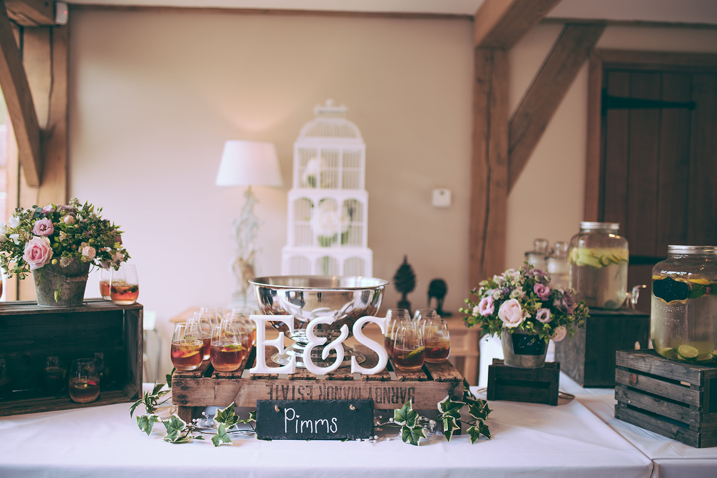 Flowers were used throughout Bassmead Manor Barns to decorate this beautiful Cambridgeshire wedding venue