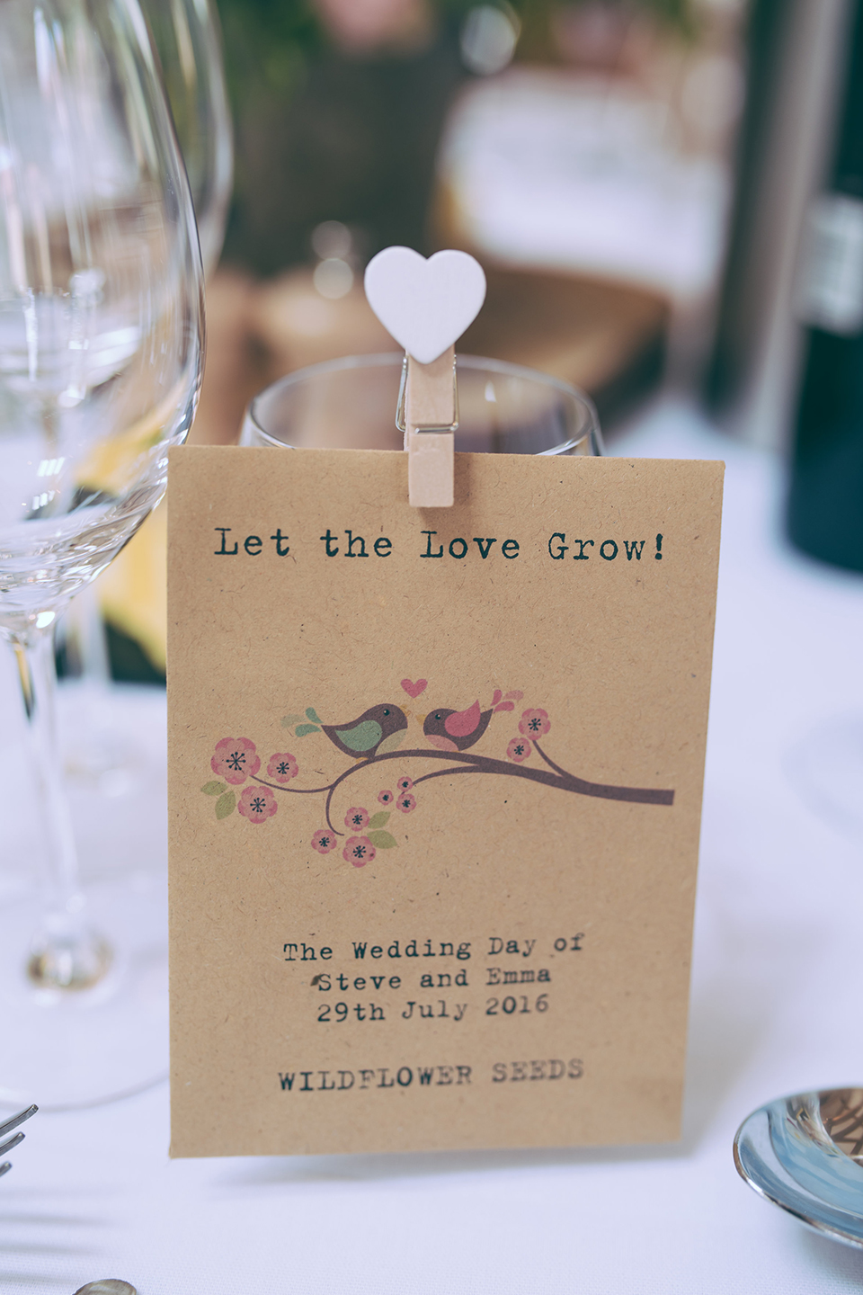 For their summer wedding at Bassmead Manor Barns the couple gave guests flower seeds as wedding favours