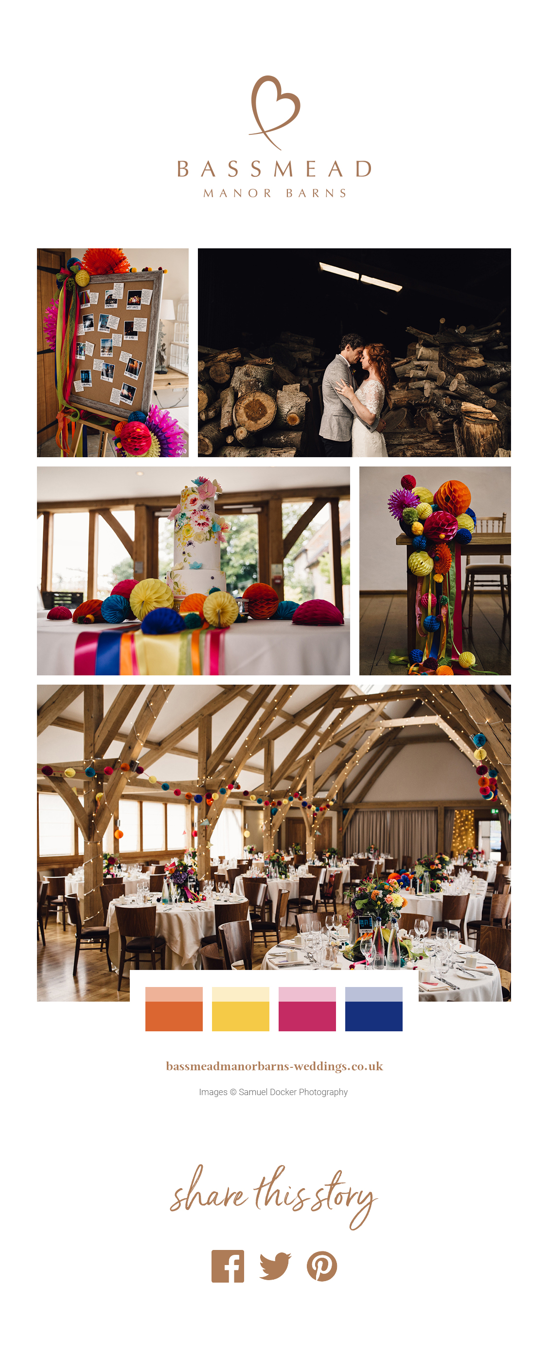 Katie and hris' real life wedding at Bassmead Manor Barns