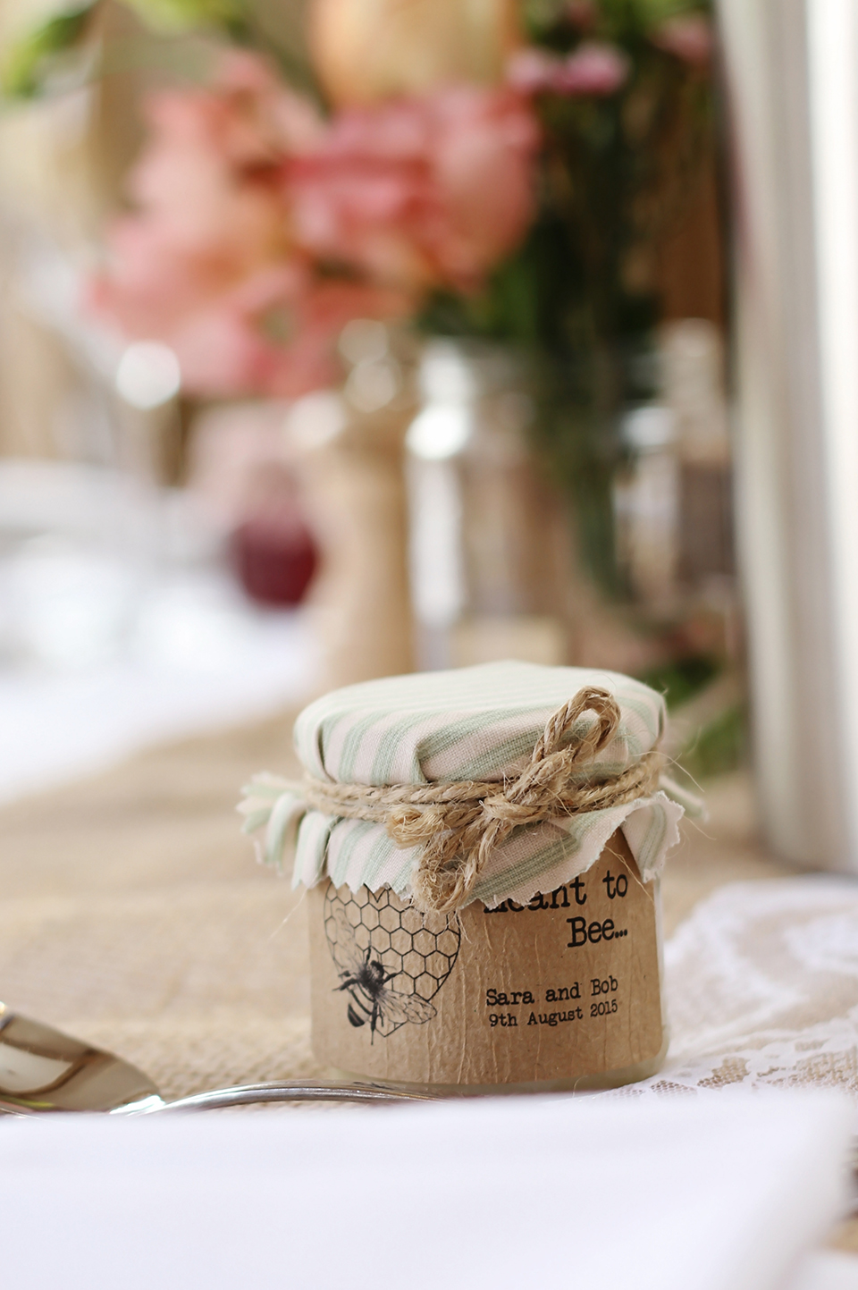 For their wedding favours at Bassmead Manor Barns a couple gave their guests pots of honey