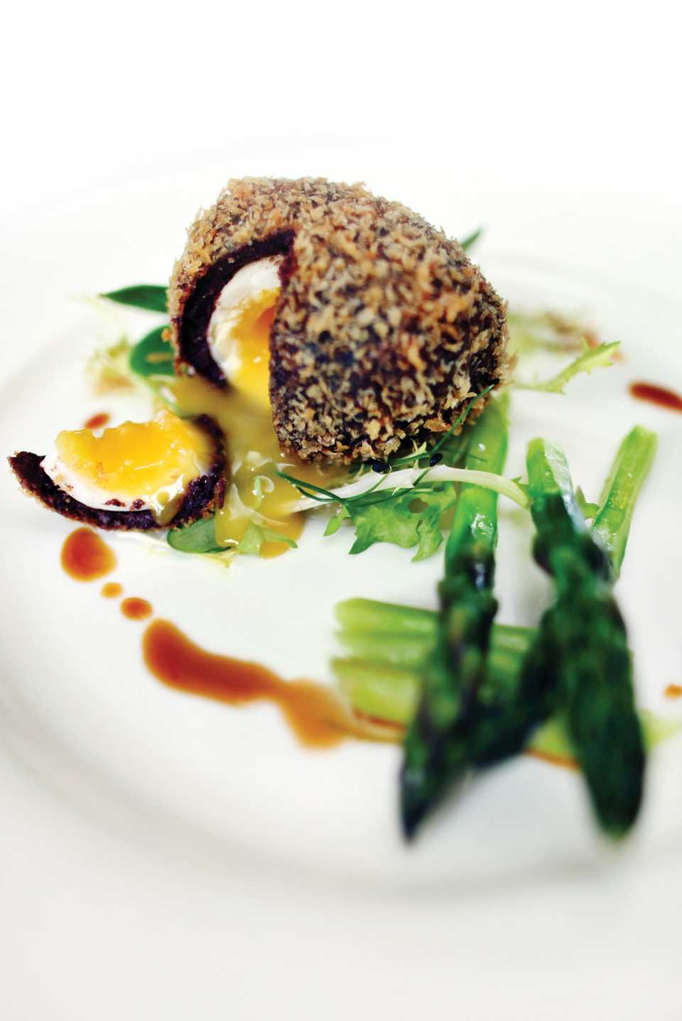 The couple chose a scotch egg starter for their wedding breakfast at Bassmead Manor Barns
