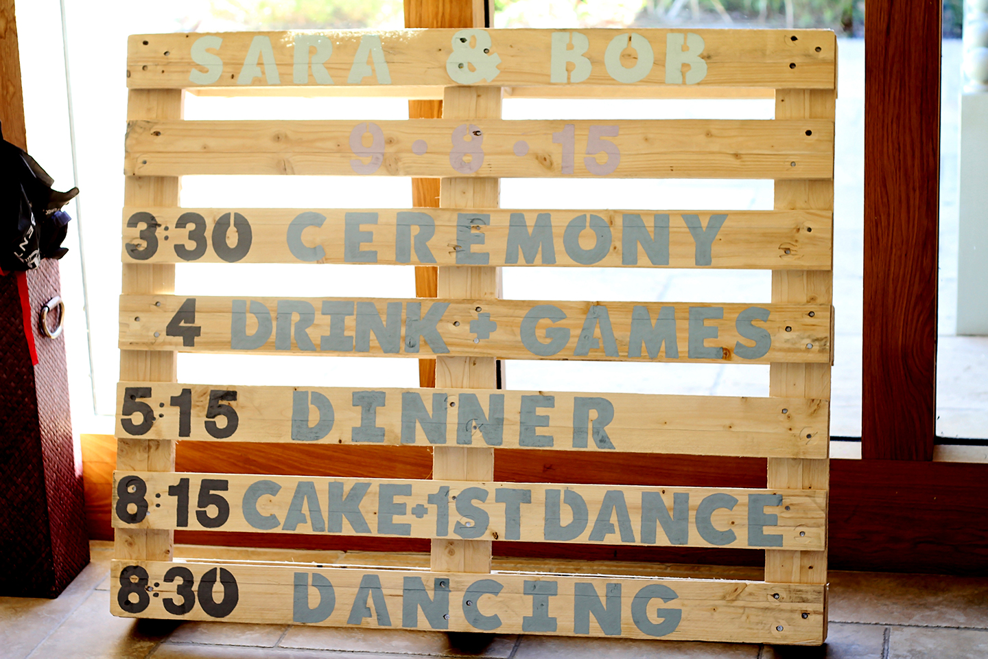 The couple created a DIY order of the day wedding sign for their big day at Bassmead Manor Barns