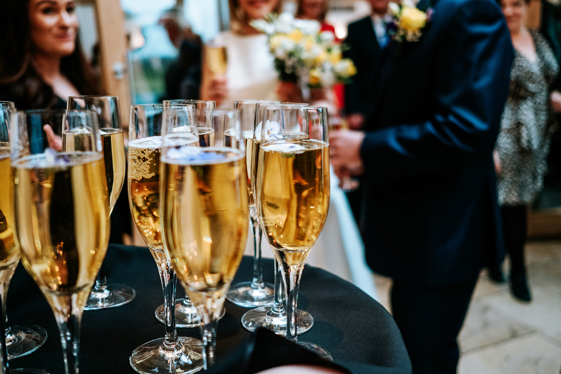 After your wedding ceremony in the Rickety Barn at Bassmead Manor Barns treat your guests to a glass of champagne