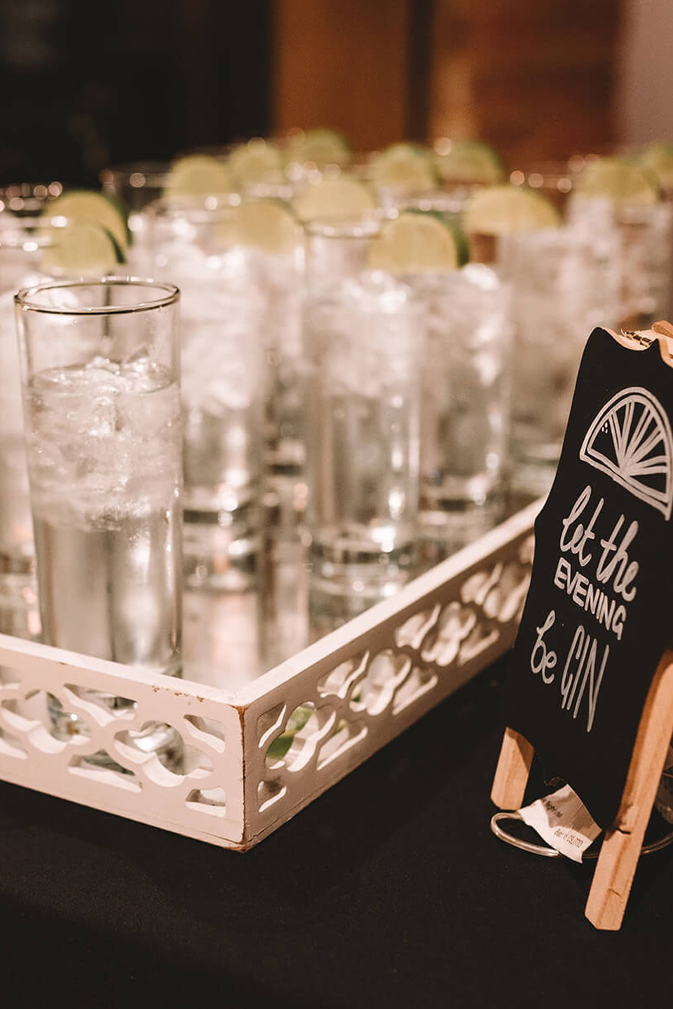 Dress your gin bar at Bassmead Manor Barns with quirky quotes to add personality to your wedding