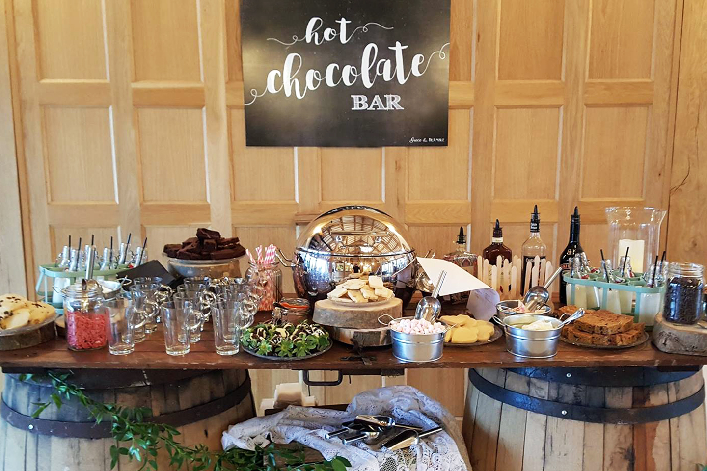 As an alternative to cocktails choose a hot chocolate station for your evening reception at Bassmead Manor Barns