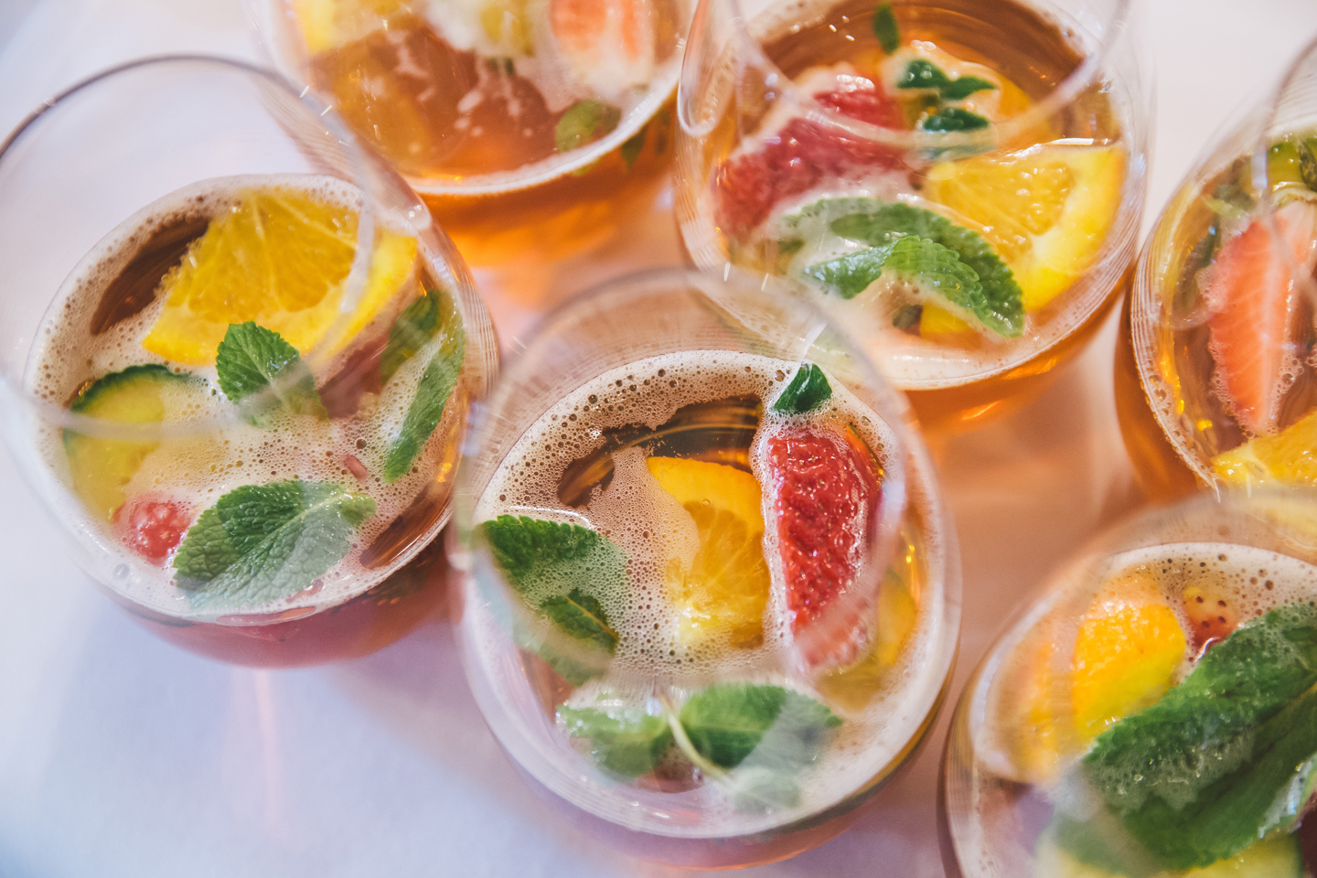 During a summer wedding enjoy a refreshing glass of pimms during your drinks reception at Bassmead Manor Barns