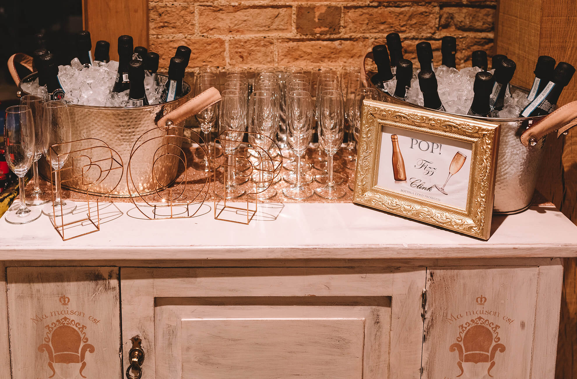 If you're a lover of prosecco have your own prosecco station for your drinks reception at Bassmead Manor Barns