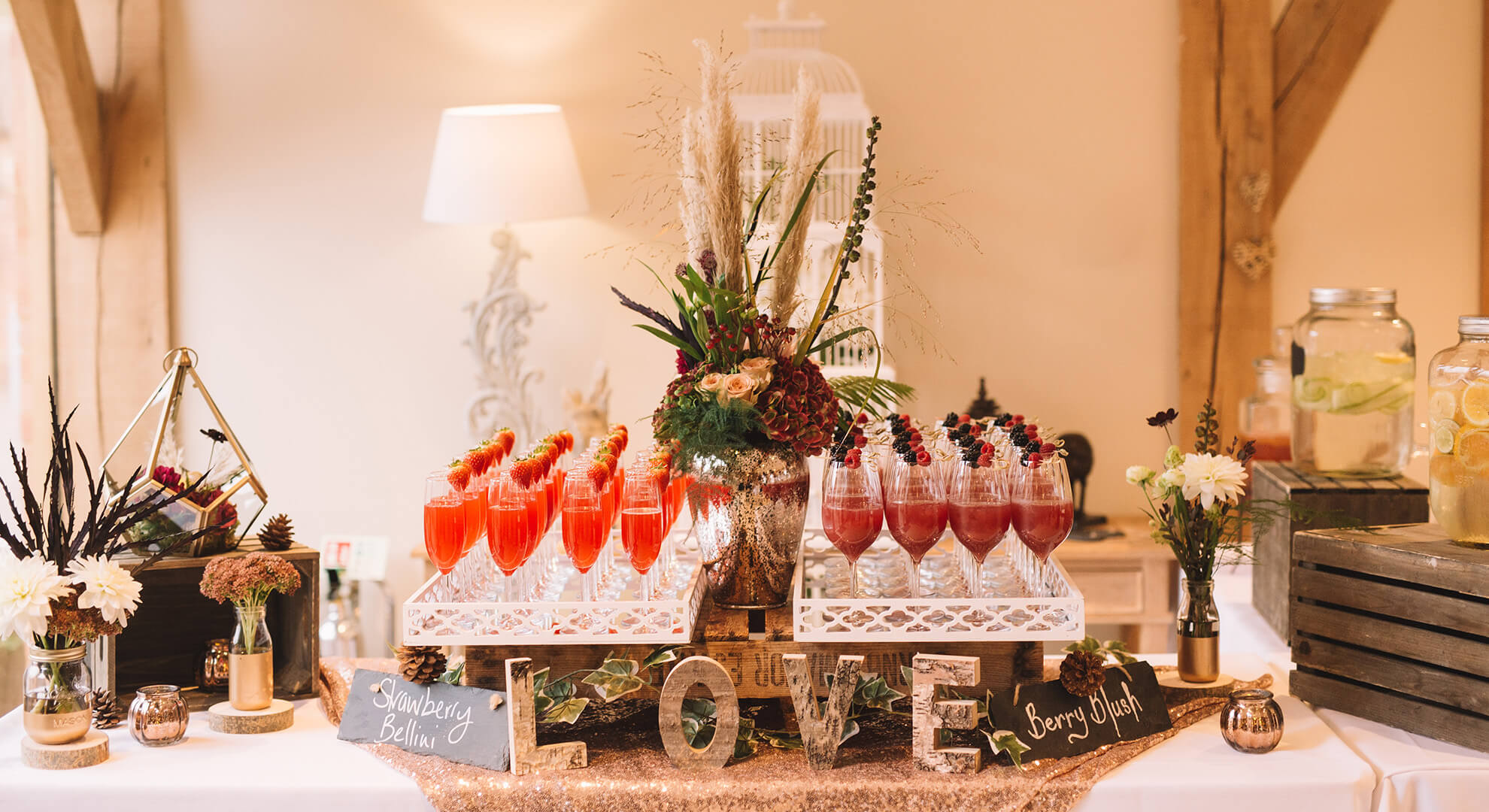 If you can't choose one cocktail for your reception at Bassmead Manor Barns why not have your own cocktail station instead?