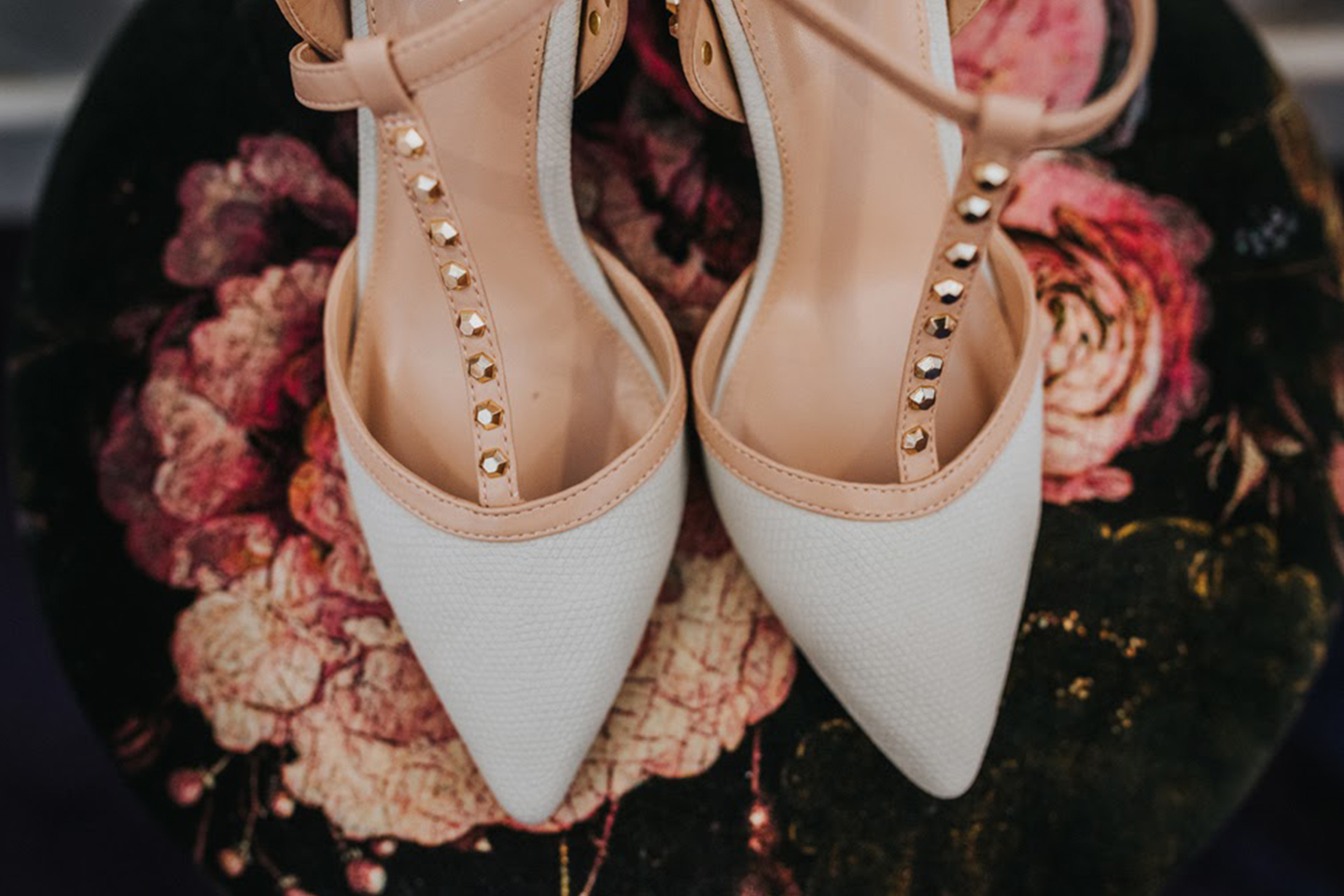 The bride wore Kurt Geiger wedding shoes for her wedding day at Bassmead Manor Barns