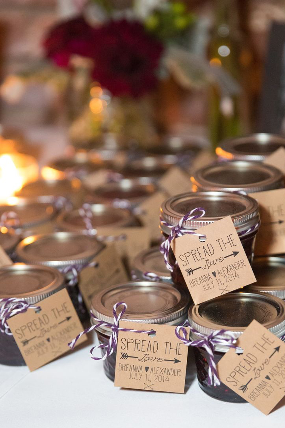 A couple gave guests a pot of jam as a DIY wedding favour for their spring wedding at Bassmead Manor Barns