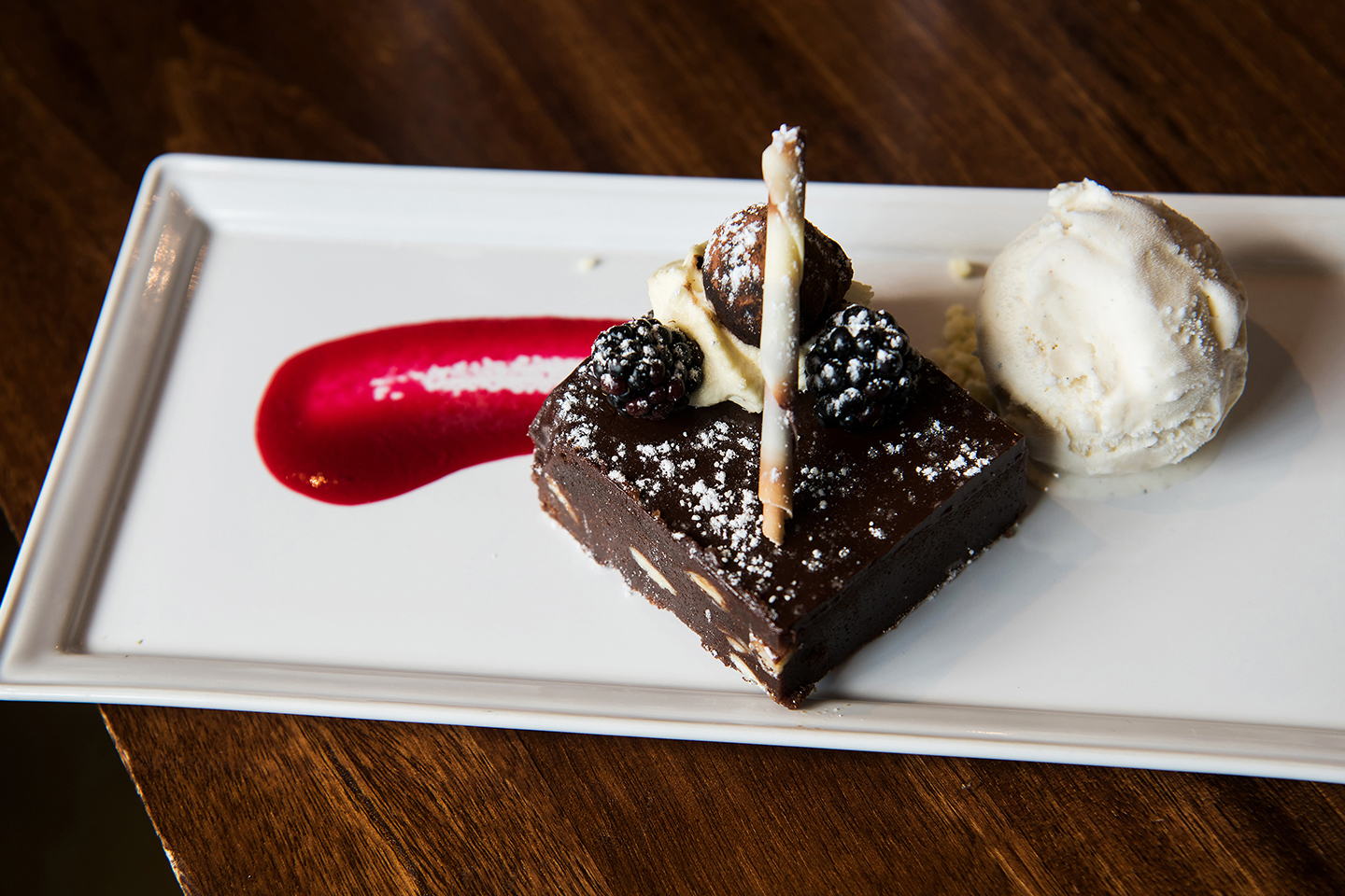 Treat guests to a delicious chocoloate brownie as part of your spring wedding menu at Bassmead Manor Barns