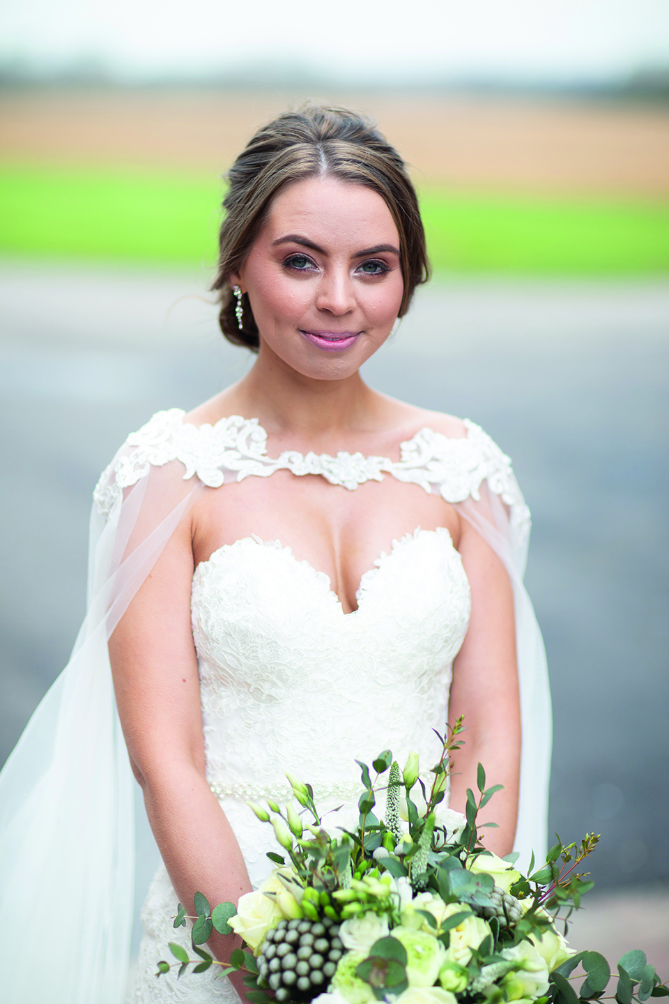 For her spring wedding at Bassmead Manor Barns the bride chose soft wedding makeup for a natural look
