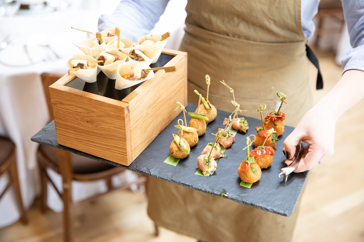 Wedding canapes were served to guests during a spring wedding reception at Bassmead Manor Barns