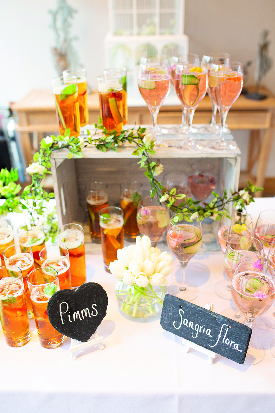 During the wedding reception at Bassmead Manor Barns guests were served a selection of refreshing welcome drinks