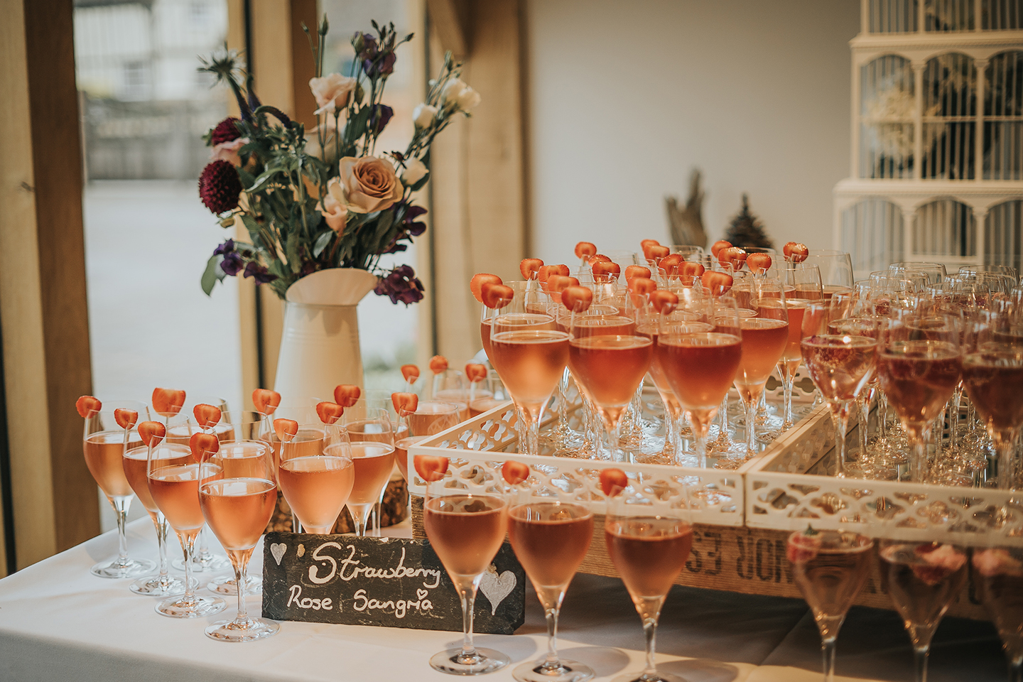 Serve refreshing wedding drinks during your reception at Bassmead Manor Barns