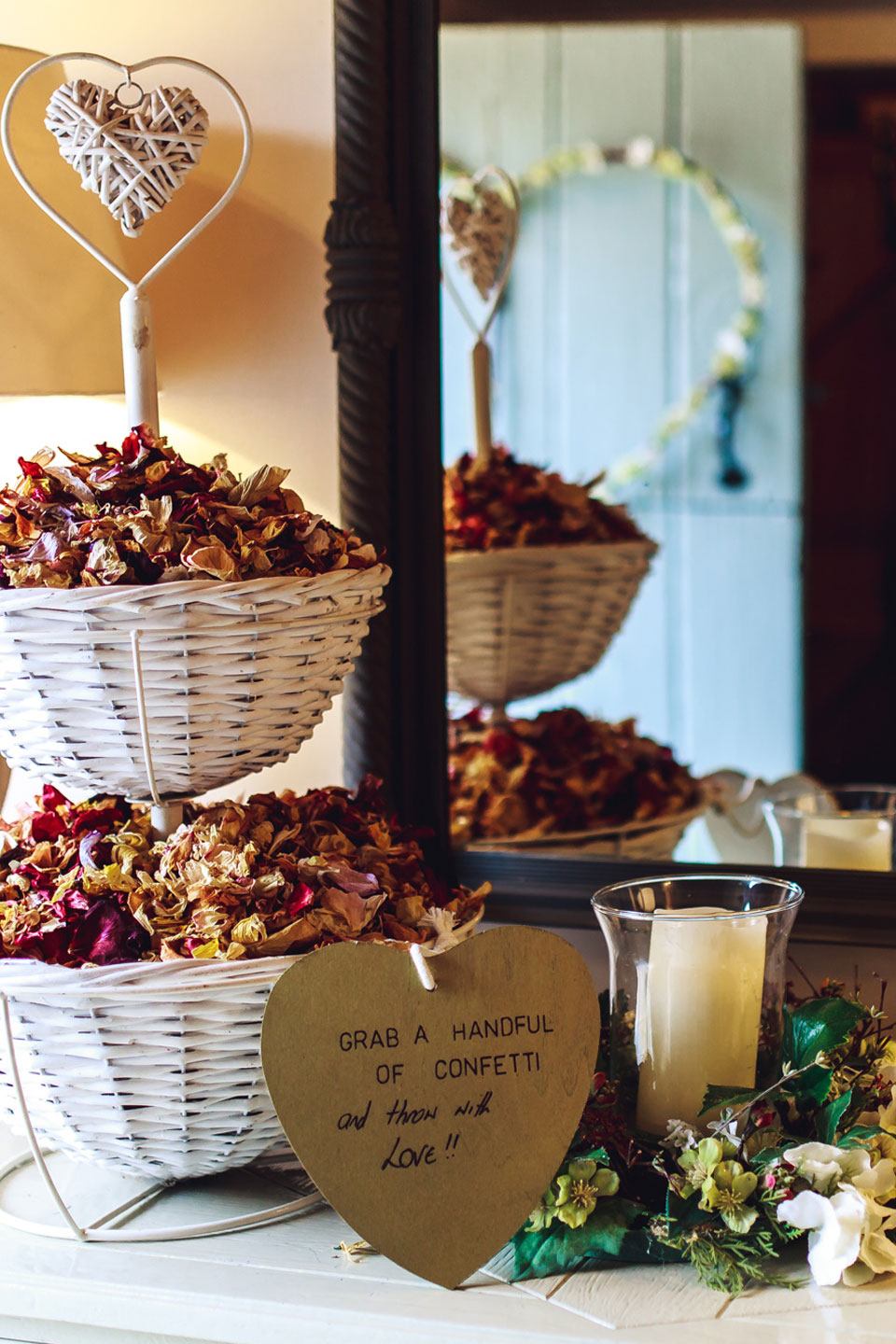 A basket of confetti stands ready for guests to throw