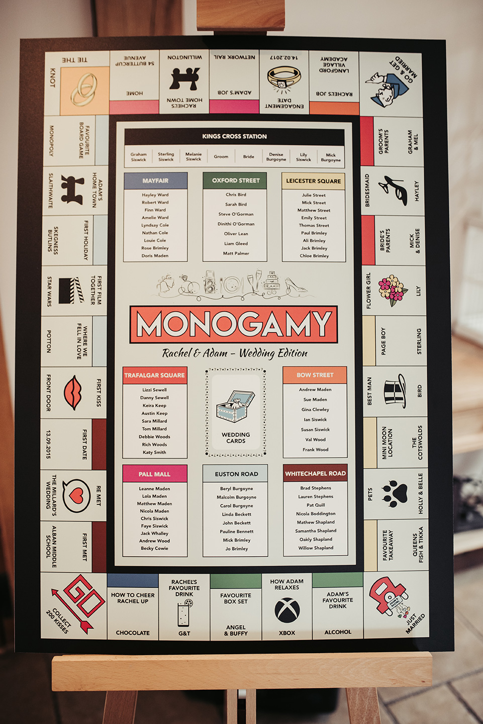The couple had a monopoly wedding theme to decorate the tables, inspired by the board game