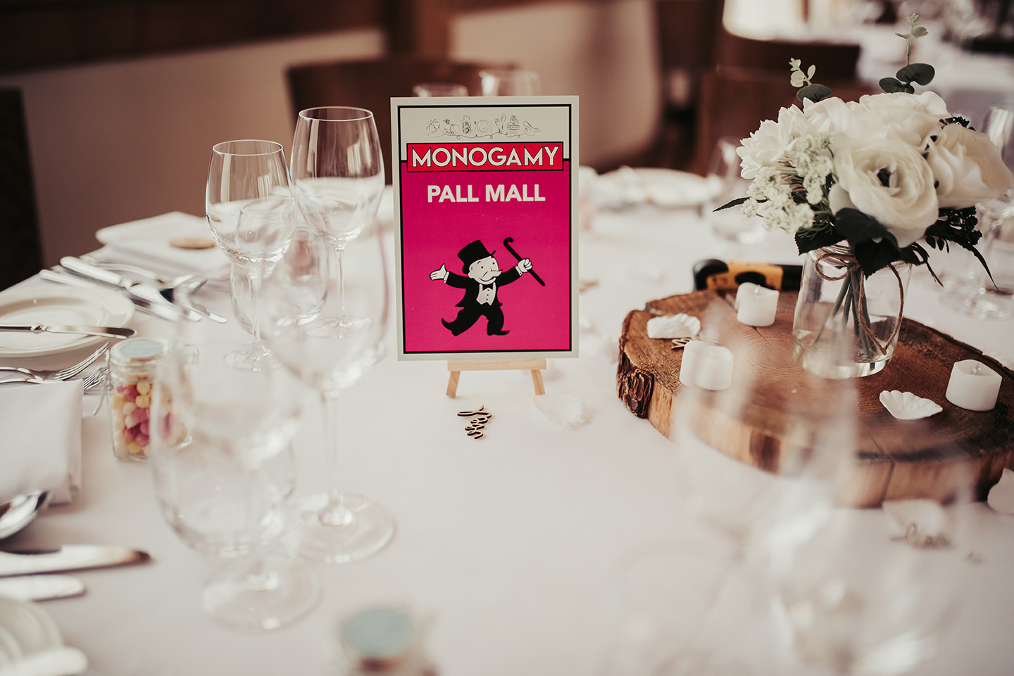 Wedding table names were inspired again by the Monopoly board game